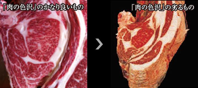 肉の色沢の比較